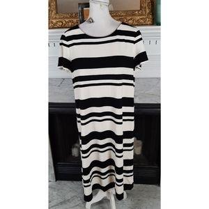 Lafayette 148 Black White Striped Tshirt Dress L